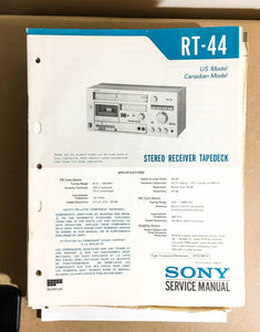 Sony RT-44 Receiver Tape Deck  Service Manual *Original*