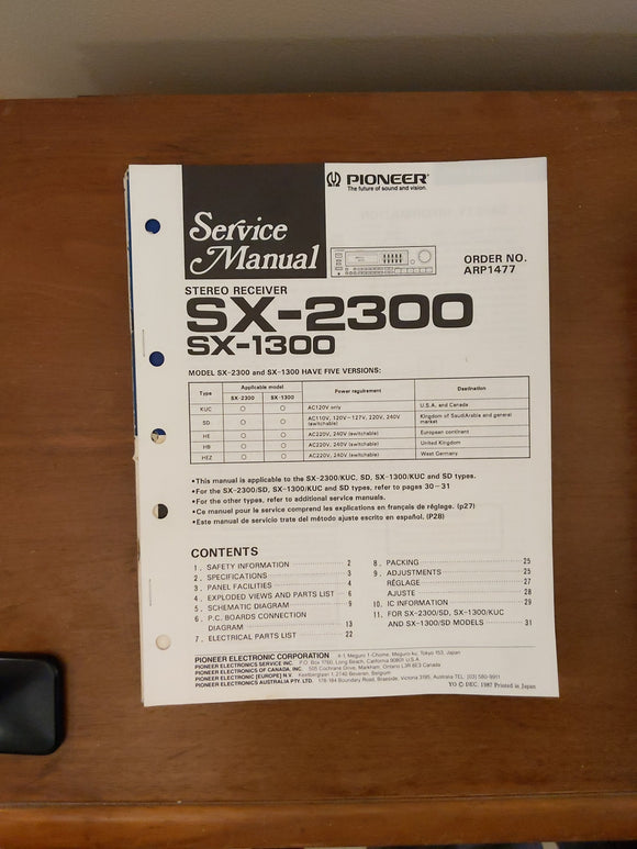 Pioneer SX-2300 SX-1300 Receiver Service Manual *Original*