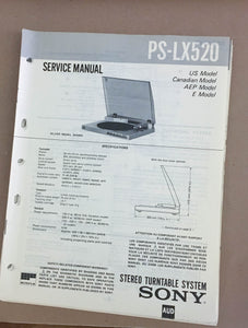 Sony PS-LX520 Turntable Record Player  Service Manual *Original*