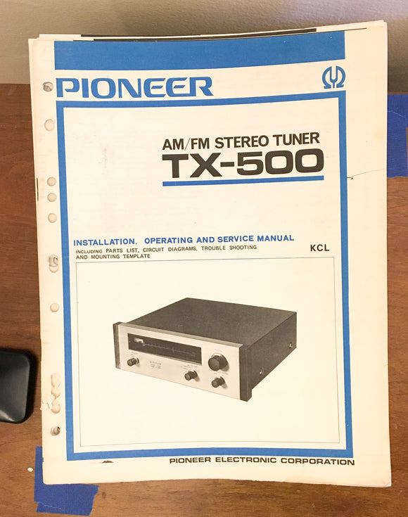 Pioneer TX-500 Tuner Service Manual *Original*