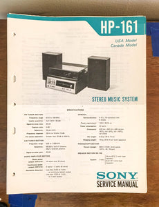Sony HP-161 Stereo Music System Service Manual *Original*