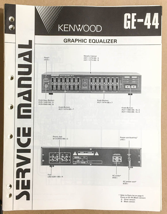 Kenwood GE-44 Equalizer  Service Manual *Original*