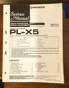 Pioneer PL-X5 Turntable / Record Player Service Manual *Original*