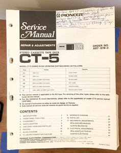 Pioneer CT-5 Cassette  Service Manual *Original*