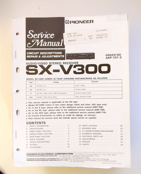 Pioneer SX-V300 Receiver Service Manual *Original*