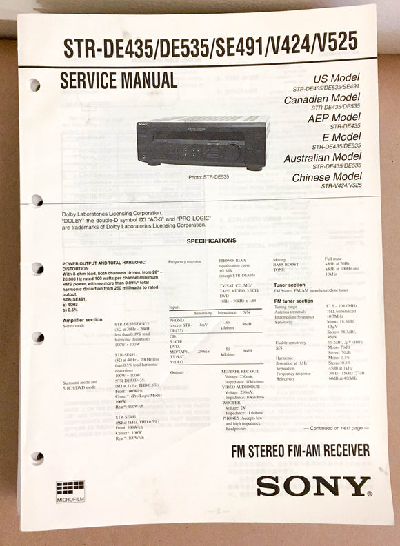 Sony STR-DE435 DE535 V525 Receiver  Service Manual *Original*