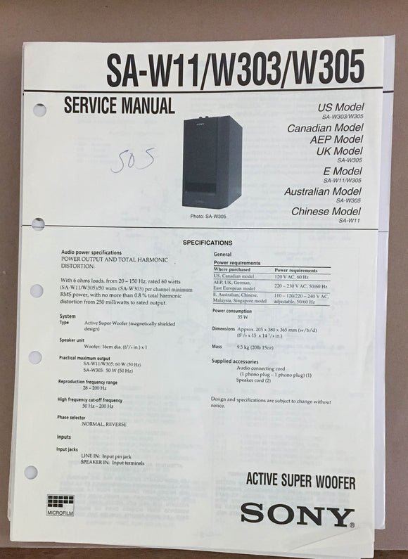 Sony  SA-W11 W303 W305 Super Woofer Service Manual *Original*