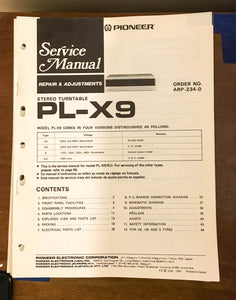 Pioneer PL-X9 Turntable / Record Player Service Manual *Original* #1