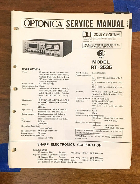 Sharp RT-3535 Cassette Tape Recorder Service Manual *Original*