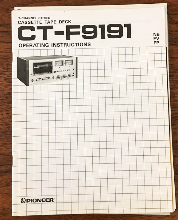 Pioneer CT-F9191 Stereo Cassette Tape Owners Manual *Original*