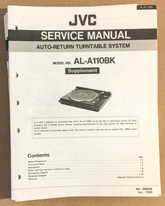 JVC AL-A110 BK Turntable / Record Player  Service Manual Supplement *Original*