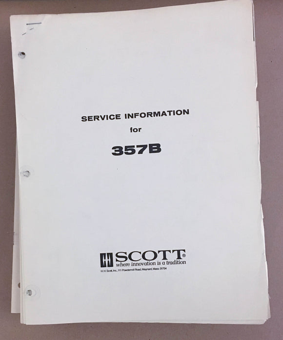 Scott 357B Receiver  Service Manual *Original*