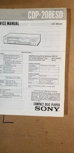 Sony CDP-203 / CDP-203ES CD Player Service Manual *Original*