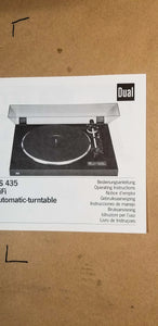 Dual CS 435 Turntable Owners Manual *Original*
