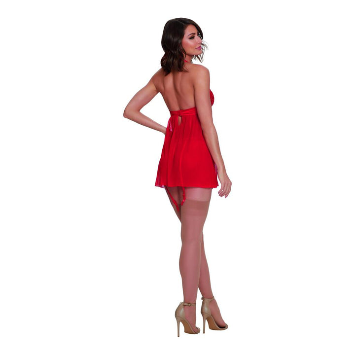 Babydoll with Garter & Thong - Red