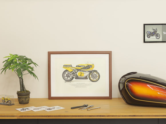 Motorcycle illustration poster A3 standard size