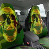 Set of 2 - Skull Camouflage Green Car Seat Covers | Universal Fit