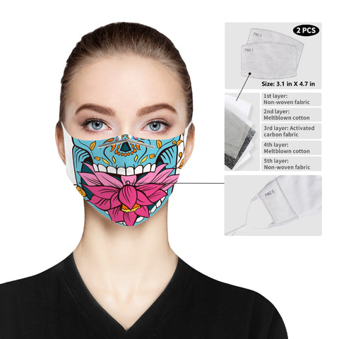 Skull Flower - Cloth Face Mask For Adults