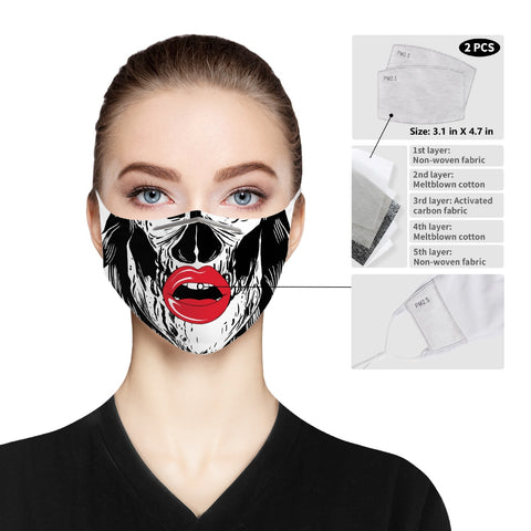 Skull Open Lips - Cloth Face Mask For Adults