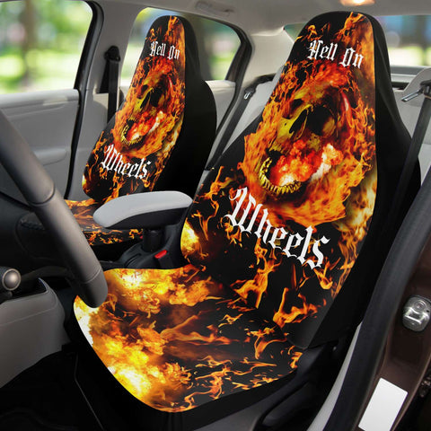 Set of 2 - Skull Hell Car Seat Covers | Universal Fit