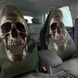Set of 2 - Skull Camouflage Chrome Car Seat Covers | Universal Fit