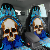 Set of 2 - Skull DJ Car Seat Covers | Universal Fit