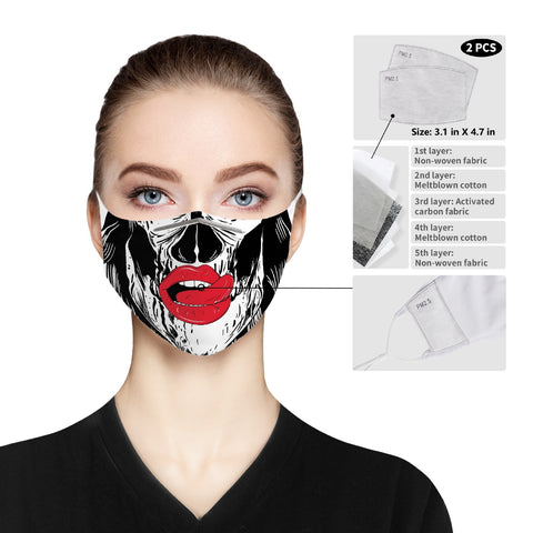 Skull Plump Lips - Cloth Face Mask For Adults