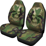 Set of 2 - Skull Camouflaged Car Seat Covers | Universal Fit