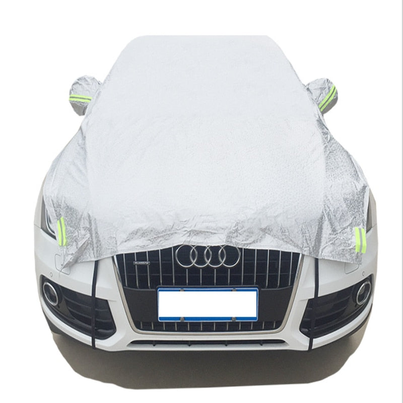 ATL Aluminium Waterproof and UV Resistance Half Car Cover, With Cotton, Sunshade and Snow Defence, Hatchback/Sedan/SUV car