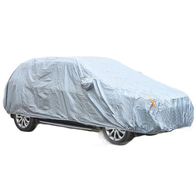 Silver Full Car Cover Nylon Outdoor Sun UV Snow Dust Resistant Protection Cover for Vehicle Automobile Accessories