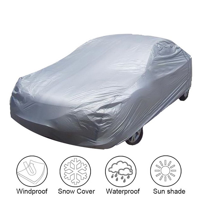Universal Full Car Covers Windproof Waterproof Snow Auto Shade Cover Light Silver Size S/M/L/XL/XXL Car Outdoor Protector Cover