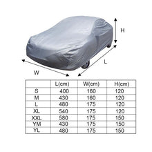 Load image into Gallery viewer, Universal Full Car Covers Windproof Waterproof Snow Auto Shade Cover Light Silver Size S/M/L/XL/XXL Car Outdoor Protector Cover