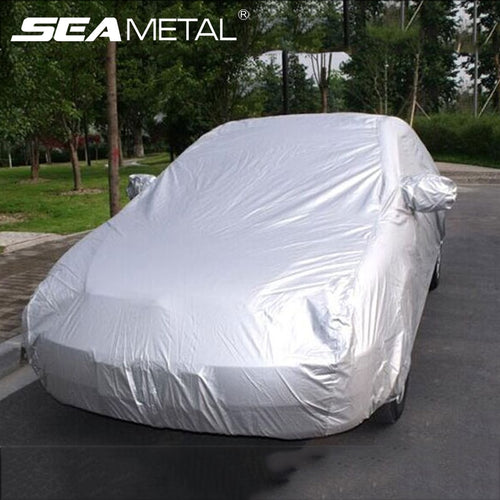 Universal Full Car Cover Rain Frost Snow Dust Waterproof Protection Exterior Car Protector Covers Anti UV Outdoor Sun Reflective