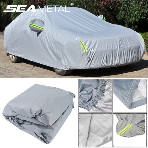 Universal Car Full Cover Dust Sun UV Anti Shade Covers With Reflective Strip Auto Outdoor Protect Covers For Sedan SUV Hatchback
