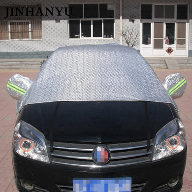 JINHANYU Universal Thick Car Half Cover Prevent Sun Water Snow Cars Shield Covers for Hatchback Sedan SUV PEVA Aluminum Film
