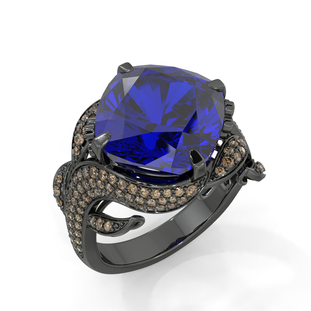 Nightscape Black Gold and Sapphire Ring