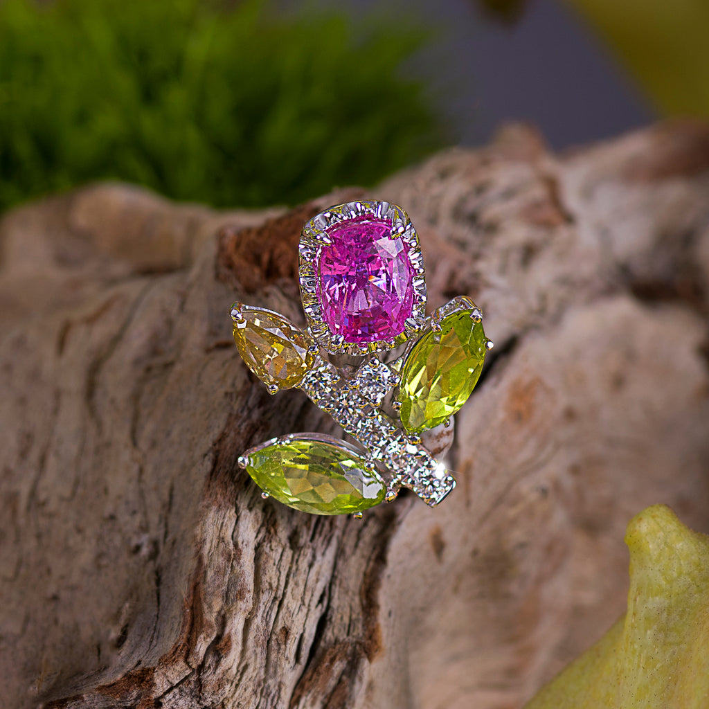 Bloom Pink Sapphire and Diamond Pendant