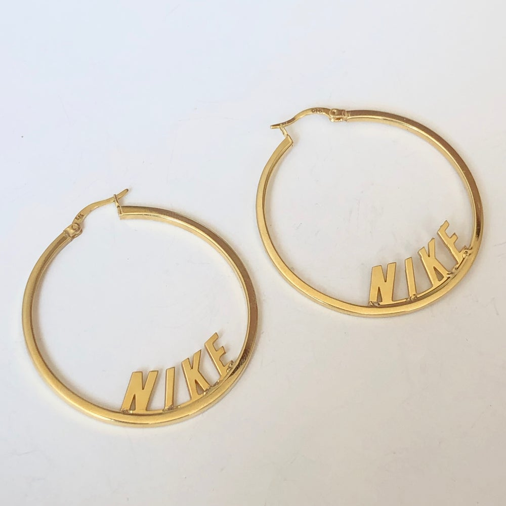 Spell Out Hoop Earrings