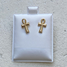 Load image into Gallery viewer, Mini 14k Gold Ankh Studs