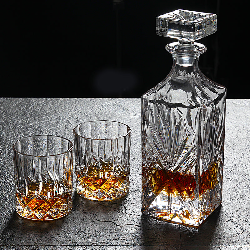 Lead-Free Crystal Glass Whiskey Glass Set 6pcs Creative Red Wine Glass Decanter Bottle