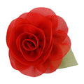 "Red - 2"" Chiffon Blossom Flower with Leaf"