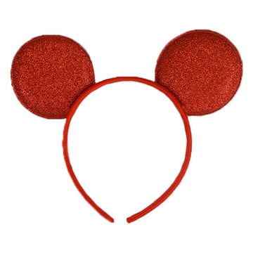 "Red - 2.75"" Glitter Mouse Ears Headband"