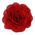 "Red - 3"" Silky Chiffon Rose Flower"