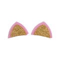 "Light Pink & Gold - 1.75"" Glitter Cat Ears"