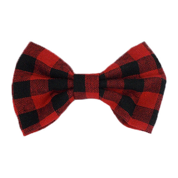 "Red & Black Check - 4"" Fabric Bow"
