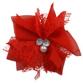 "Red - 3"" Chiffon Lace Pearl & Rhinestone Flower"