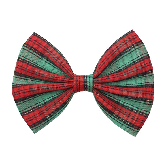 "Red / Green / Gold Plaid - 5"" Fabric Bow"