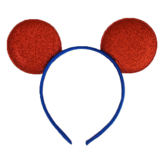 Red & Royal Blue - Glitter Mouse Ears Headband