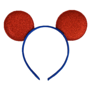 "Red + Royal Blue - 2.75"" Glitter Mouse Ears Headband"