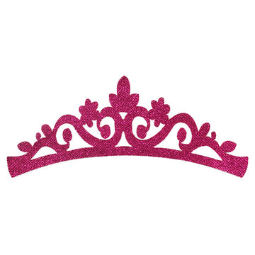 "Hot Pink - 7"" Felt & Glitter Crown"